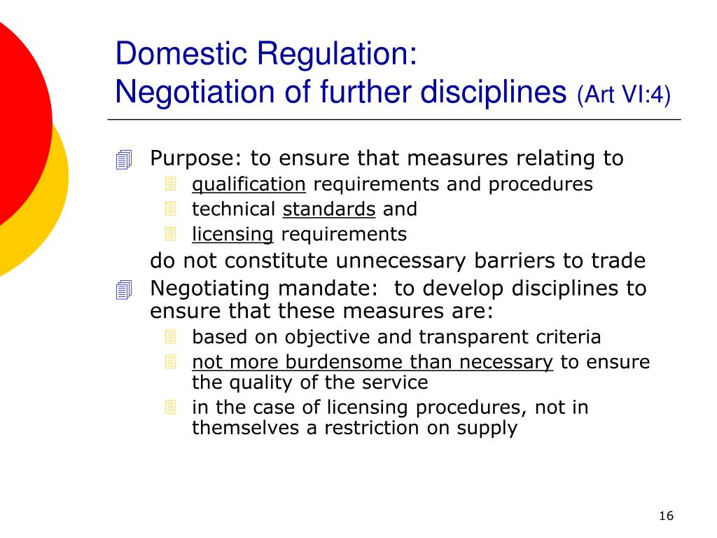 Domestic Regulation: