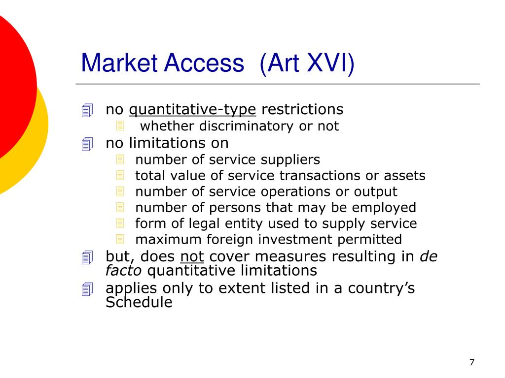 Market Access  (Art XVI)