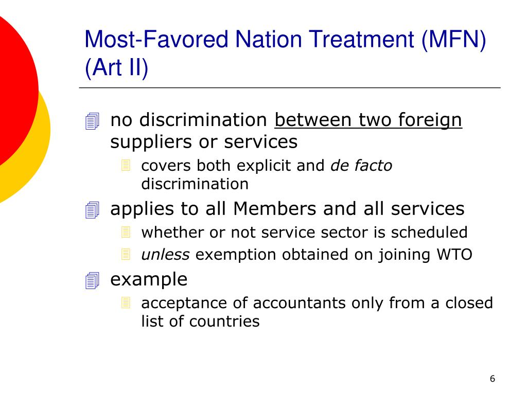 Most-Favored Nation Treatment (MFN)  (Art II)