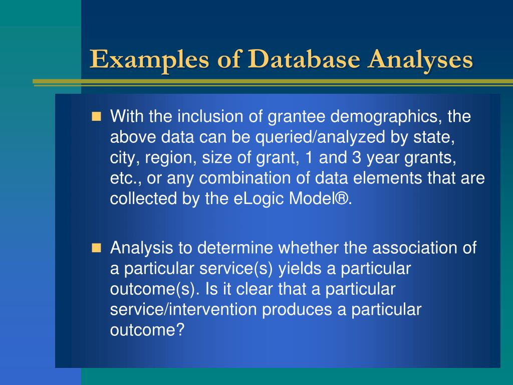 Examples of Database Analyses