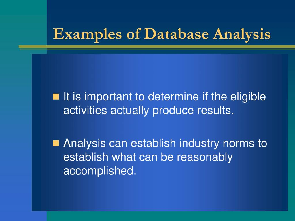 Examples of Database Analysis