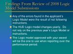 findings from review of 2008 logic model submissions