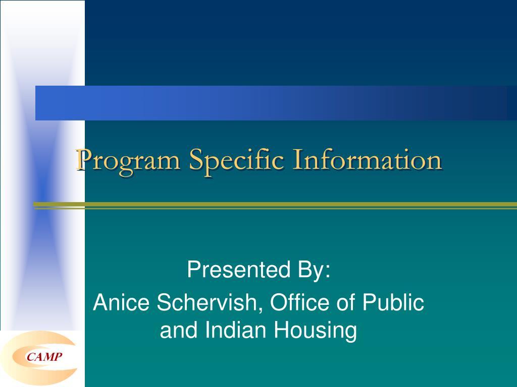 Program Specific Information