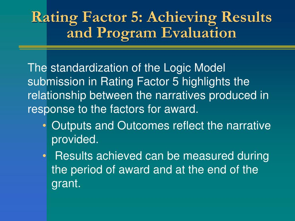 Rating Factor 5: Achieving Results and Program Evaluation