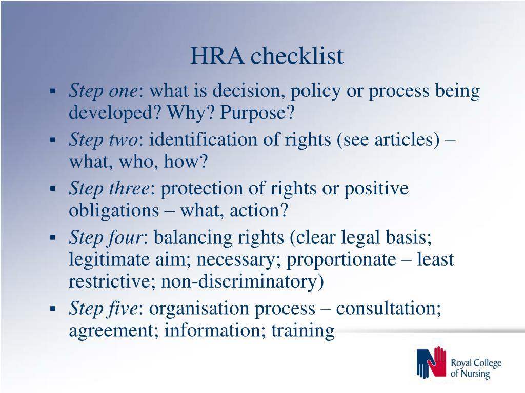 HRA checklist