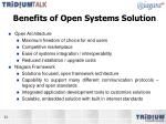 benefits of open systems solution
