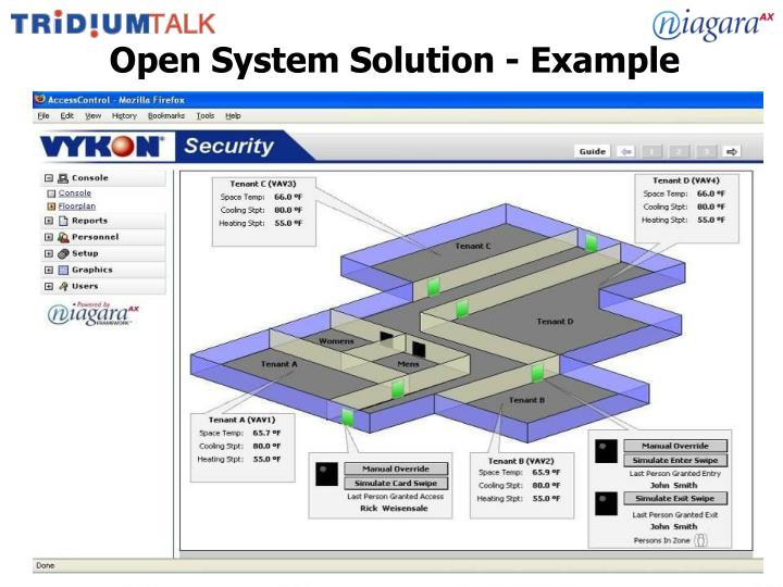 Open System Solution - Example