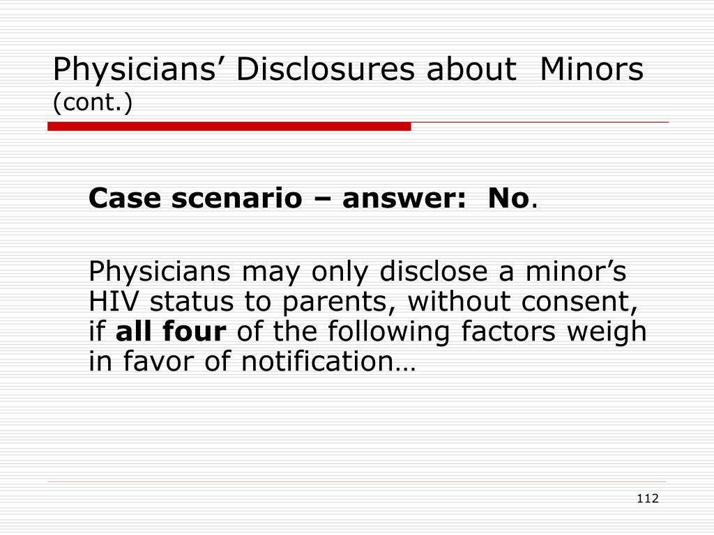 Physicians' Disclosures about  Minors