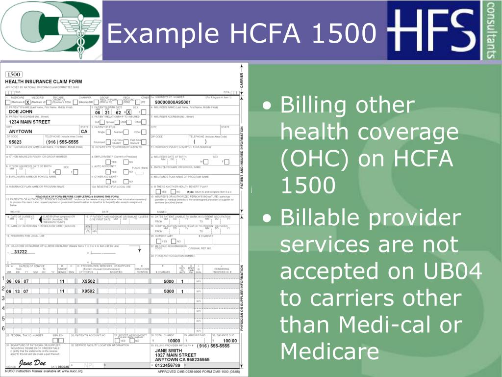 Billing other health coverage (OHC) on HCFA 1500