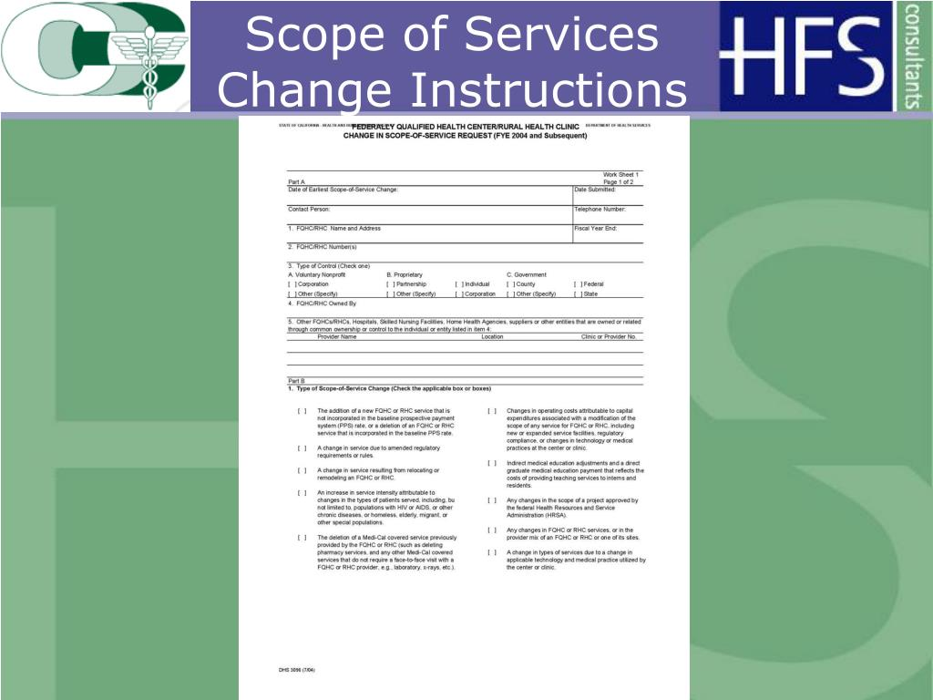 Scope of Services Change Instructions