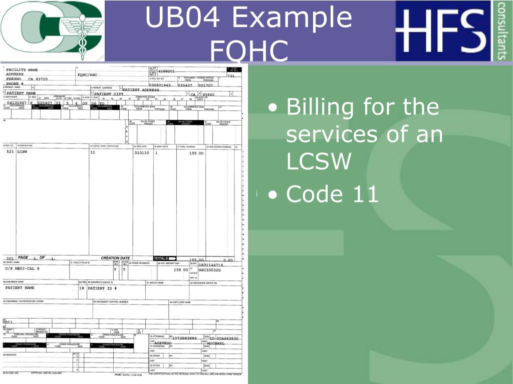 UB04 Example FQHC