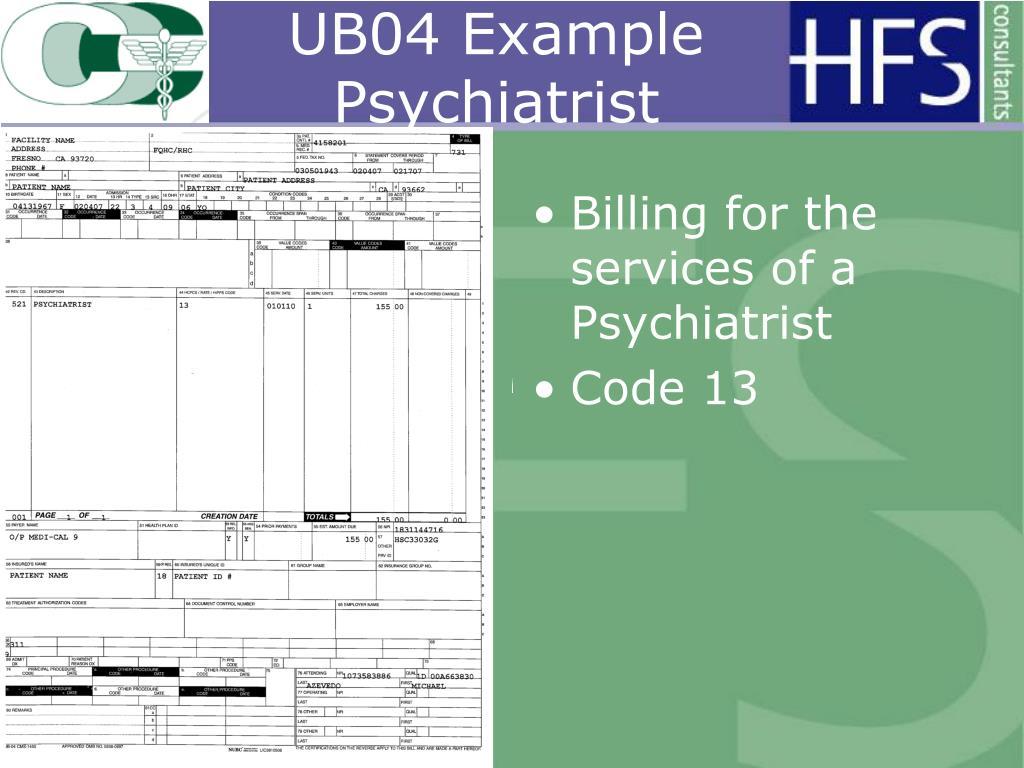 UB04 Example Psychiatrist