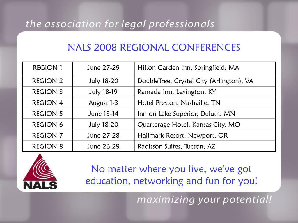NALS 2008 REGIONAL CONFERENCES