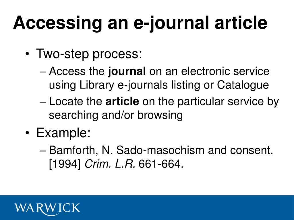 Accessing an e-journal article