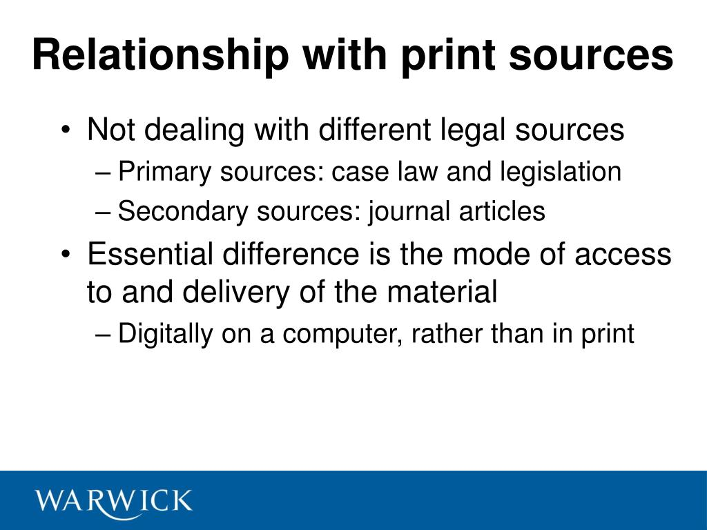 Relationship with print sources