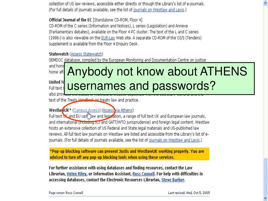 Anybody not know about ATHENS usernames and passwords?