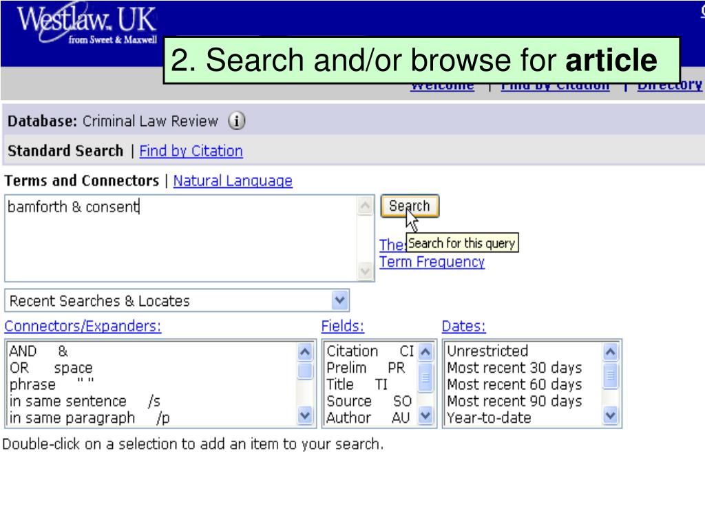 2. Search and/or browse for