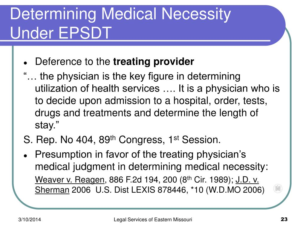 Determining Medical Necessity Under EPSDT
