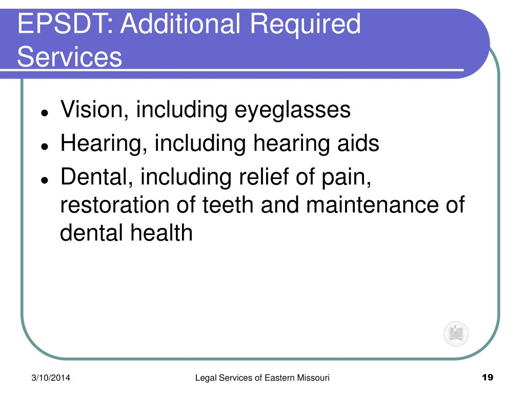 EPSDT: Additional Required Services