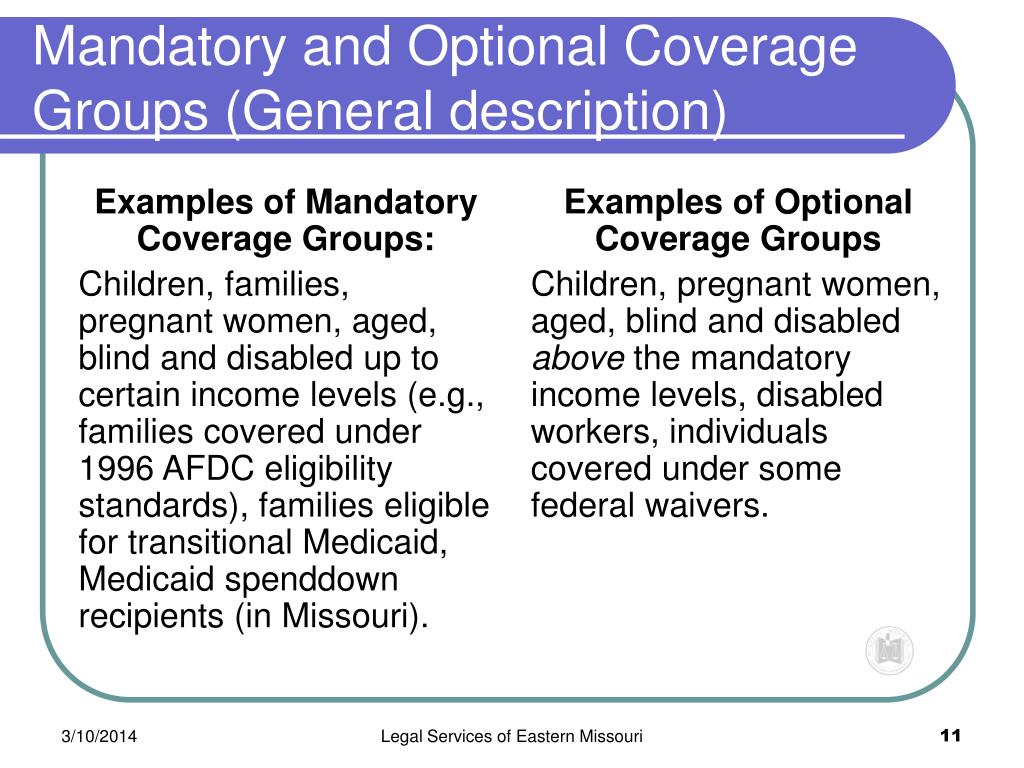 Examples of Mandatory Coverage Groups: