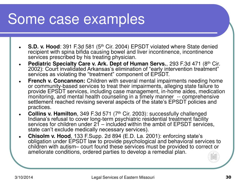 Some case examples