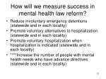 how will we measure success in mental health law reform