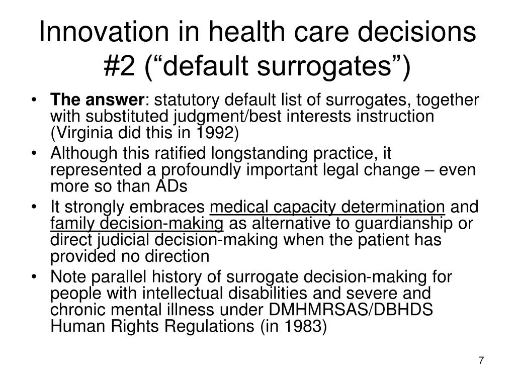 """Innovation in health care decisions #2 (""""default surrogates"""")"""
