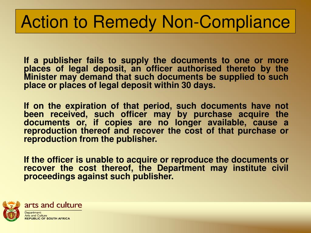 Action to Remedy Non-Compliance