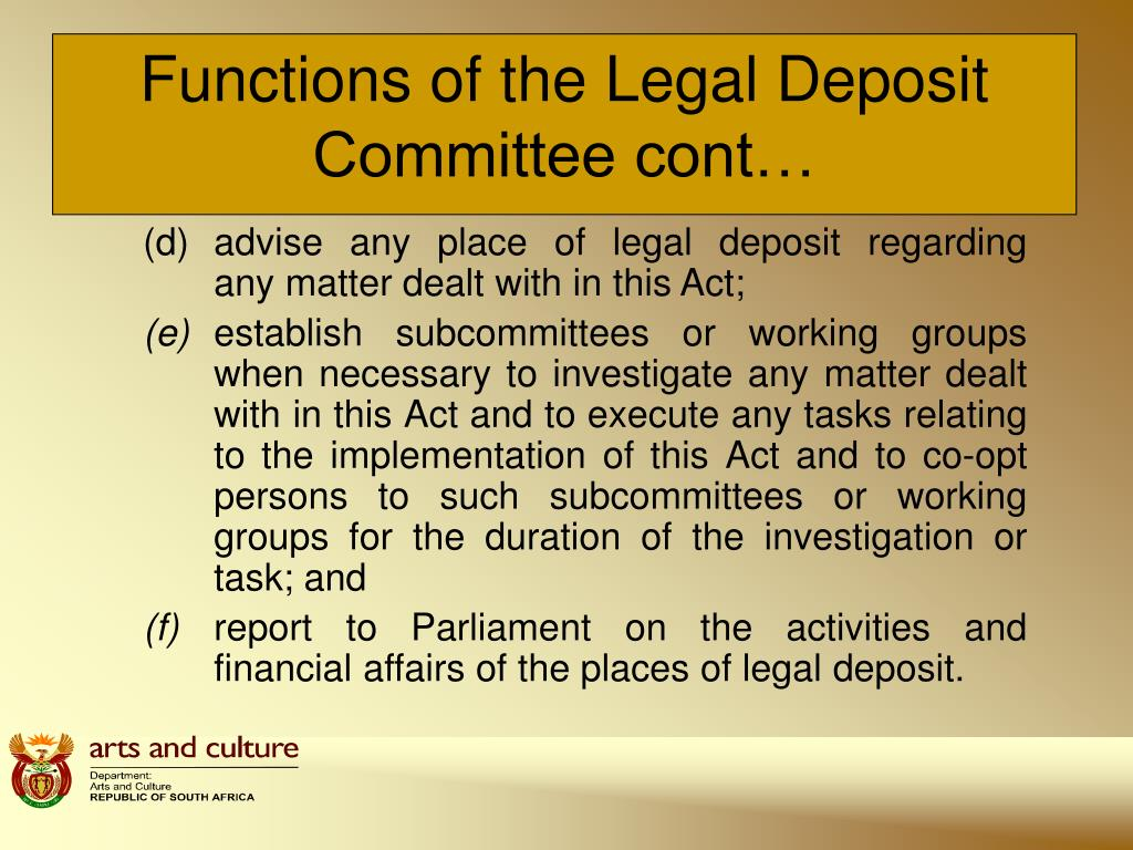 Functions of the Legal Deposit Committee cont…