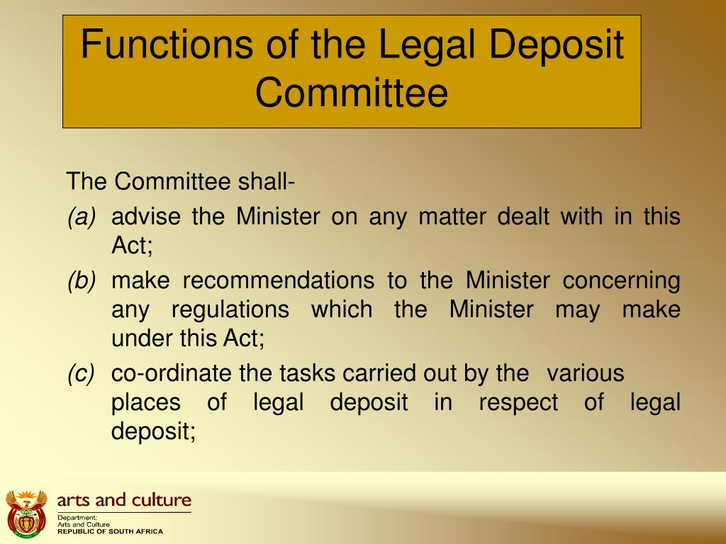 Functions of the Legal Deposit Committee