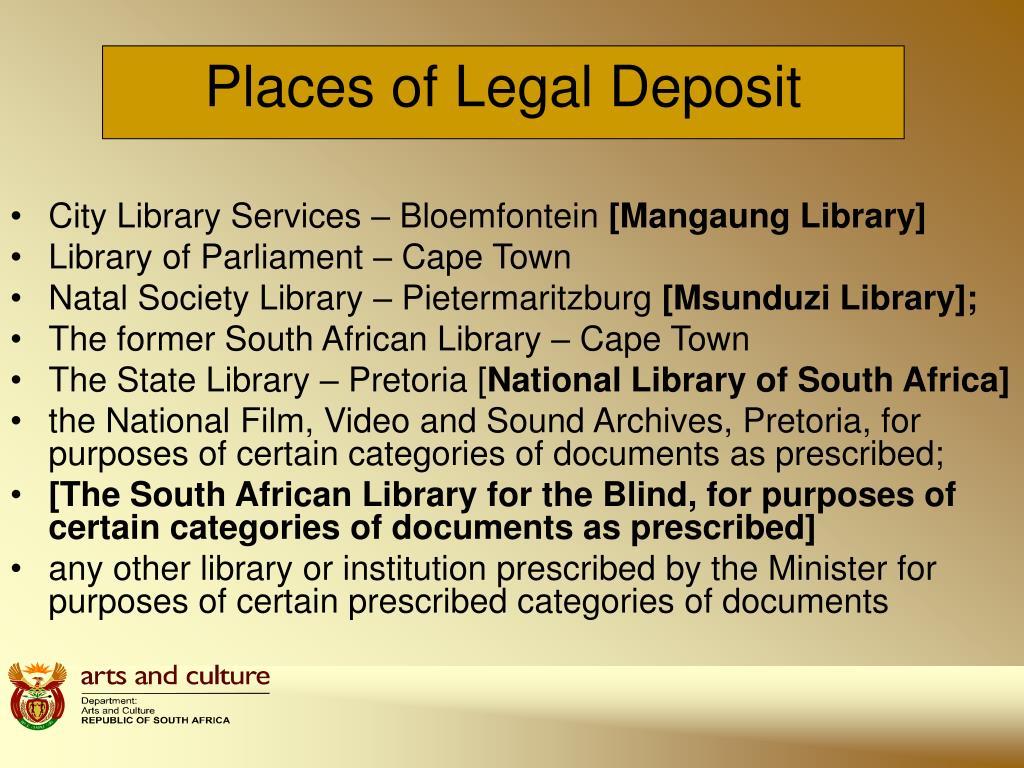 Places of Legal Deposit