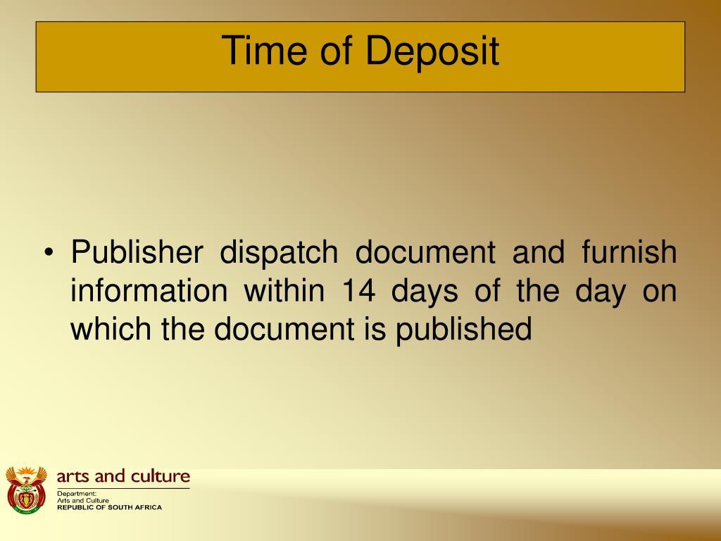 Time of Deposit