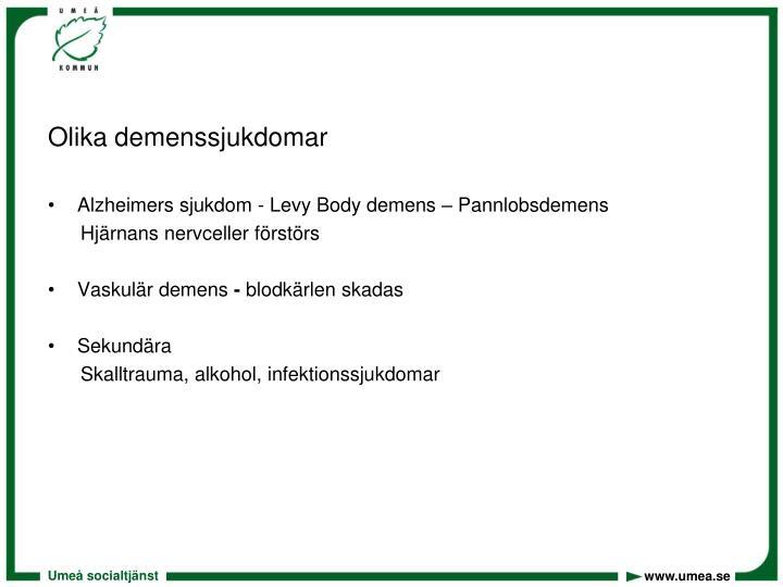 Olika demenssjukdomar