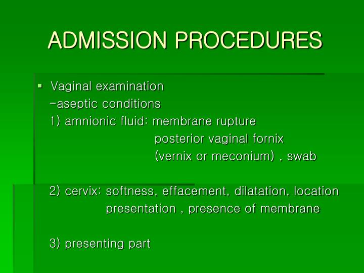 ADMISSION PROCEDURES