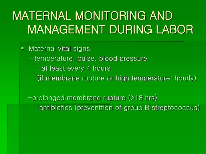 MATERNAL MONITORING AND