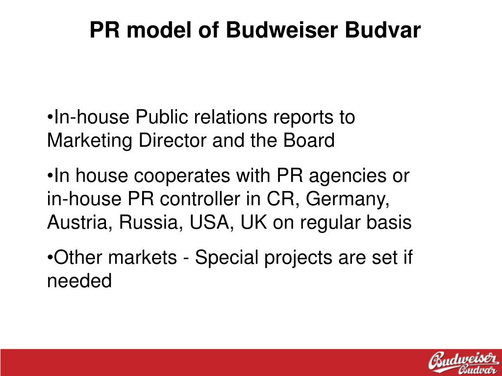 PR model of Budweiser Budvar