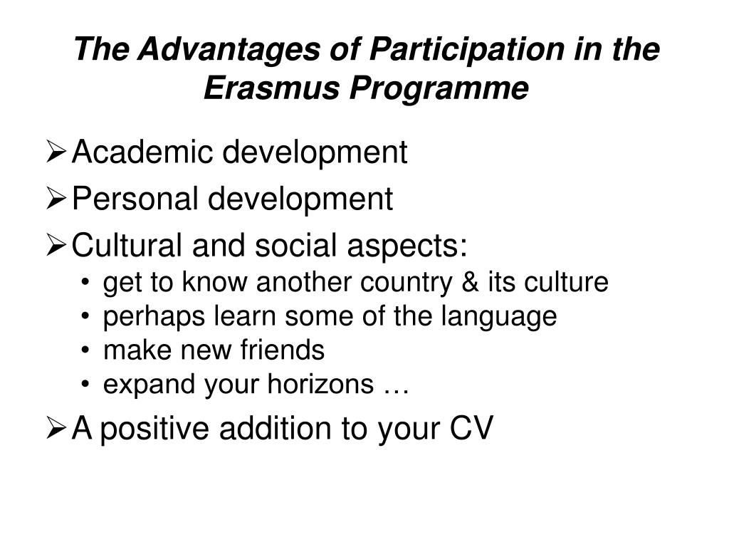 The Advantages of Participation in the Erasmus Programme