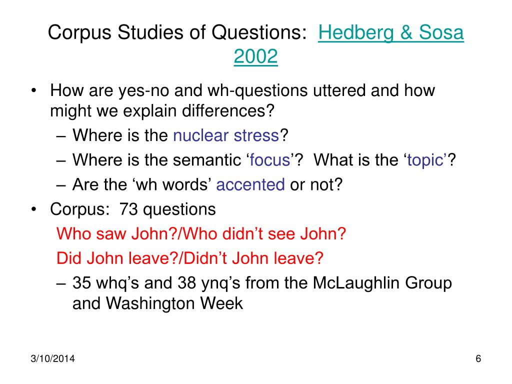 Corpus Studies of Questions: