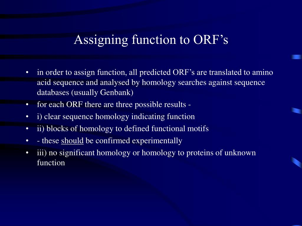 Assigning function to ORF's