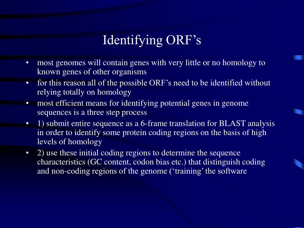 Identifying ORF's