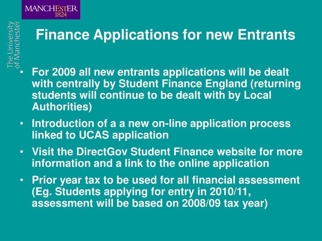 Finance Applications for new Entrants