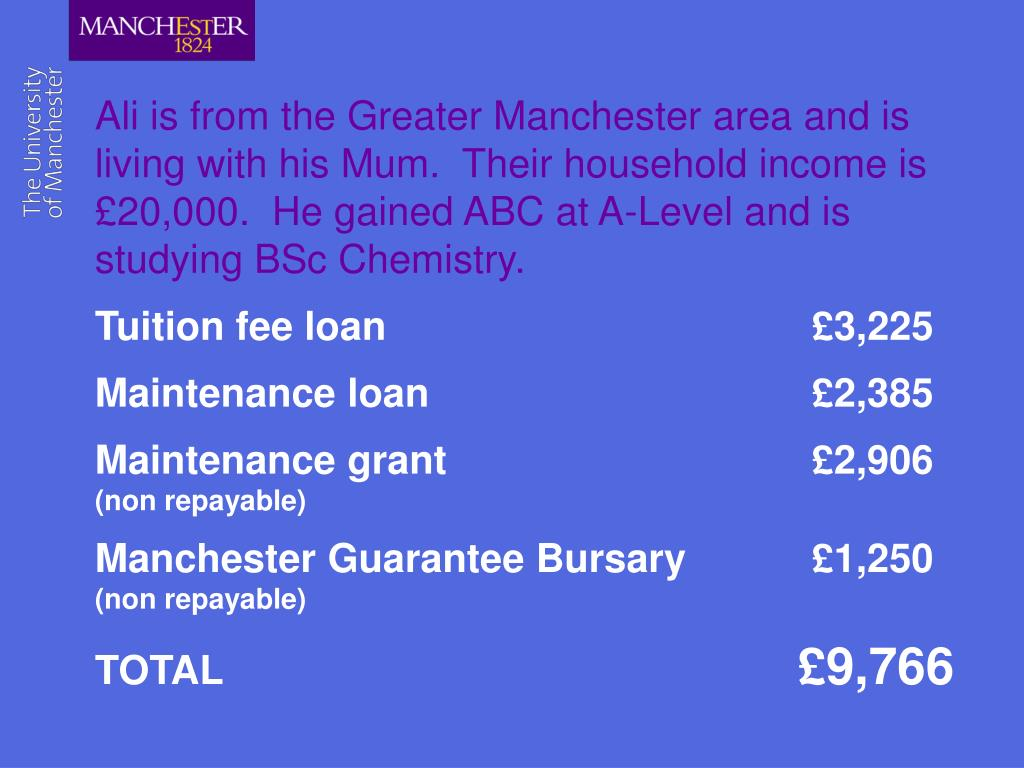 Ali is from the Greater Manchester area and is living with his Mum.  Their household income is £20,000.  He gained ABC at A-Level and is studying BSc Chemistry.