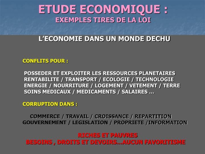 ETUDE ECONOMIQUE :