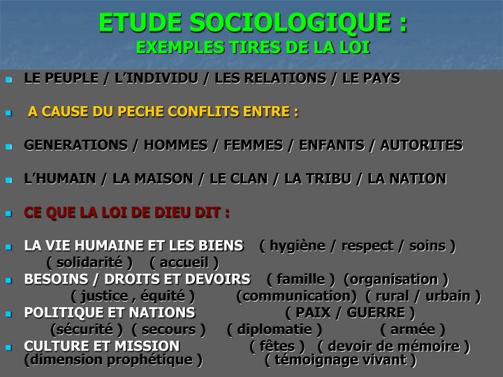 ETUDE SOCIOLOGIQUE :