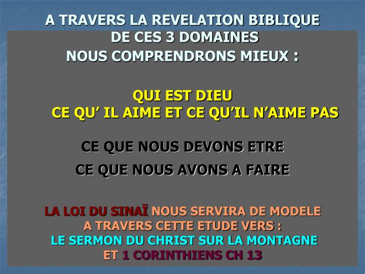 A TRAVERS LA REVELATION BIBLIQUE