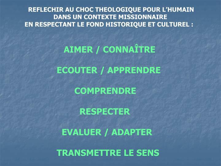 REFLECHIR AU CHOC THEOLOGIQUE POUR L'HUMAIN