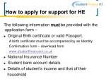 how to apply for support for he23