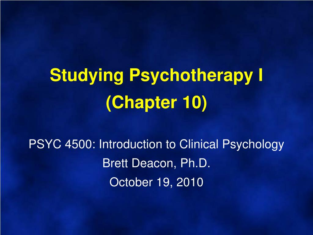 Studying Psychotherapy I