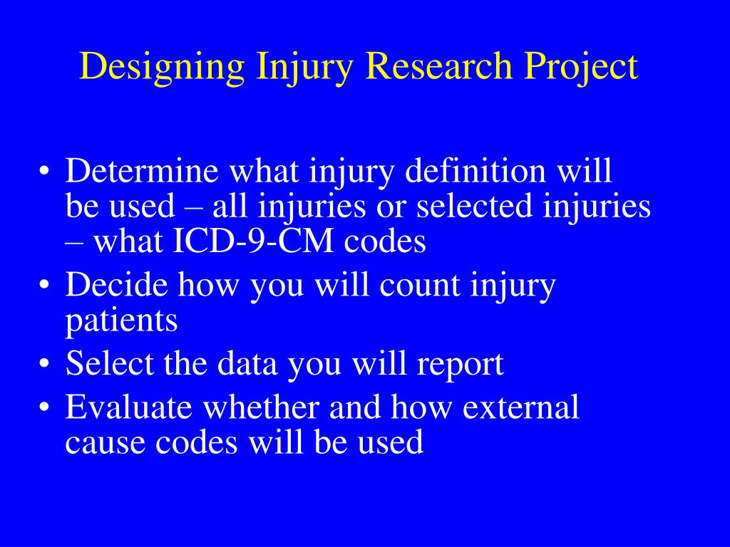 Designing Injury Research Project