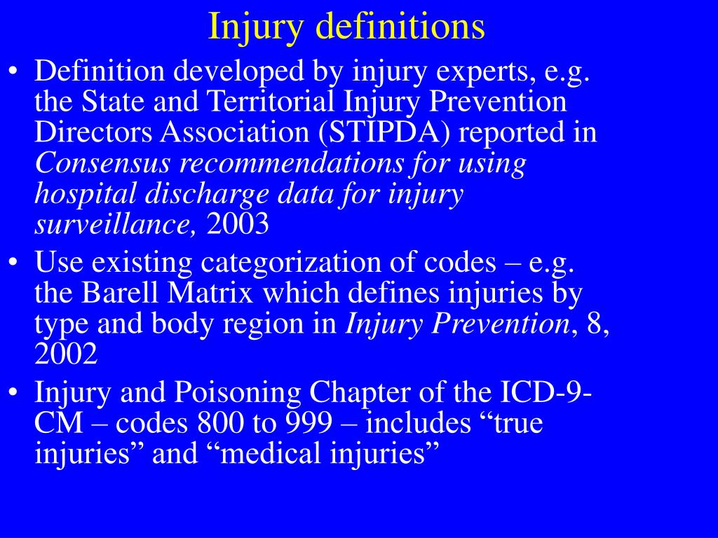 Injury definitions